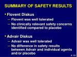 summary of safety results