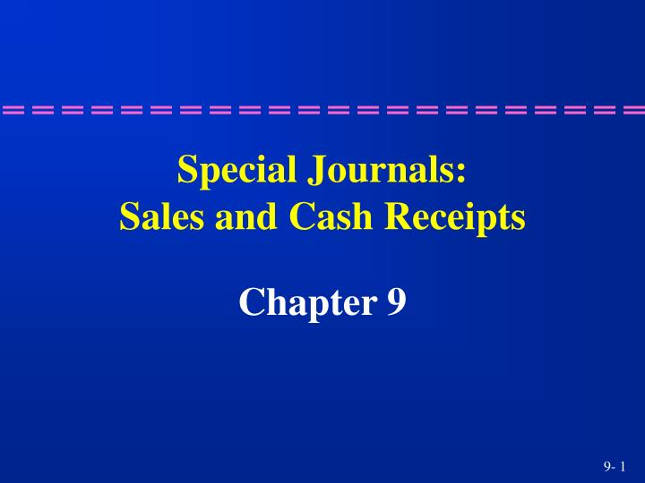 special journals sales and cash receipts n.