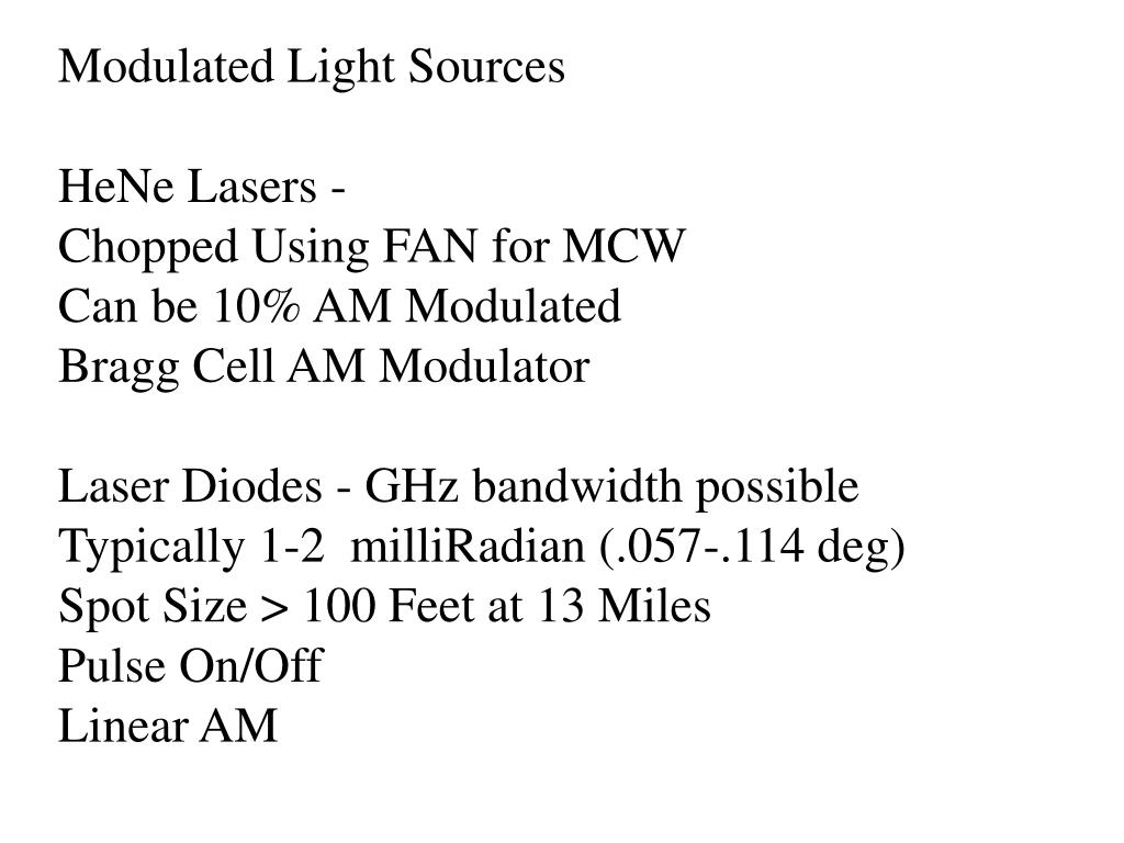 Modulated Light Sources