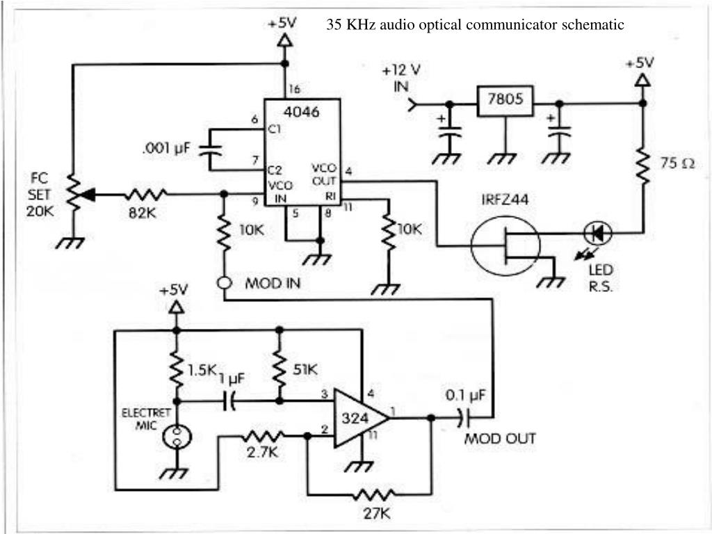 35 KHz audio optical communicator schematic