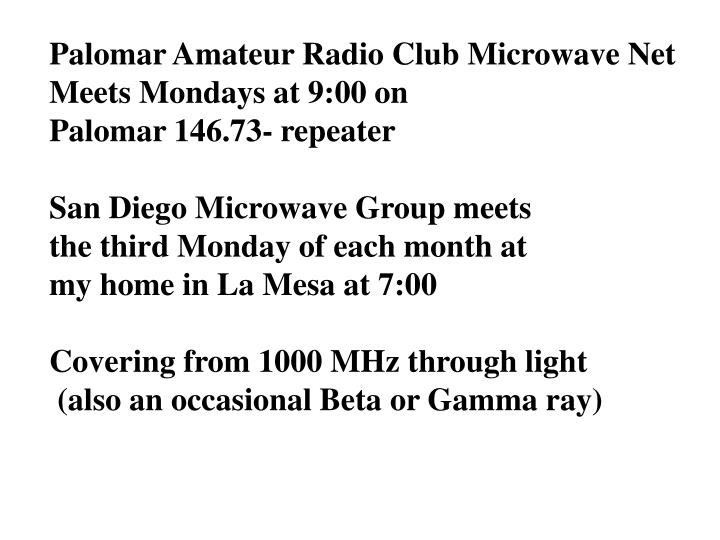 Palomar Amateur Radio Club Microwave Net