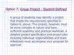 option 7 group project student defined