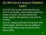 do we have a joyous obedient faith23