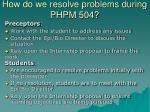 how do we resolve problems during phpm 504
