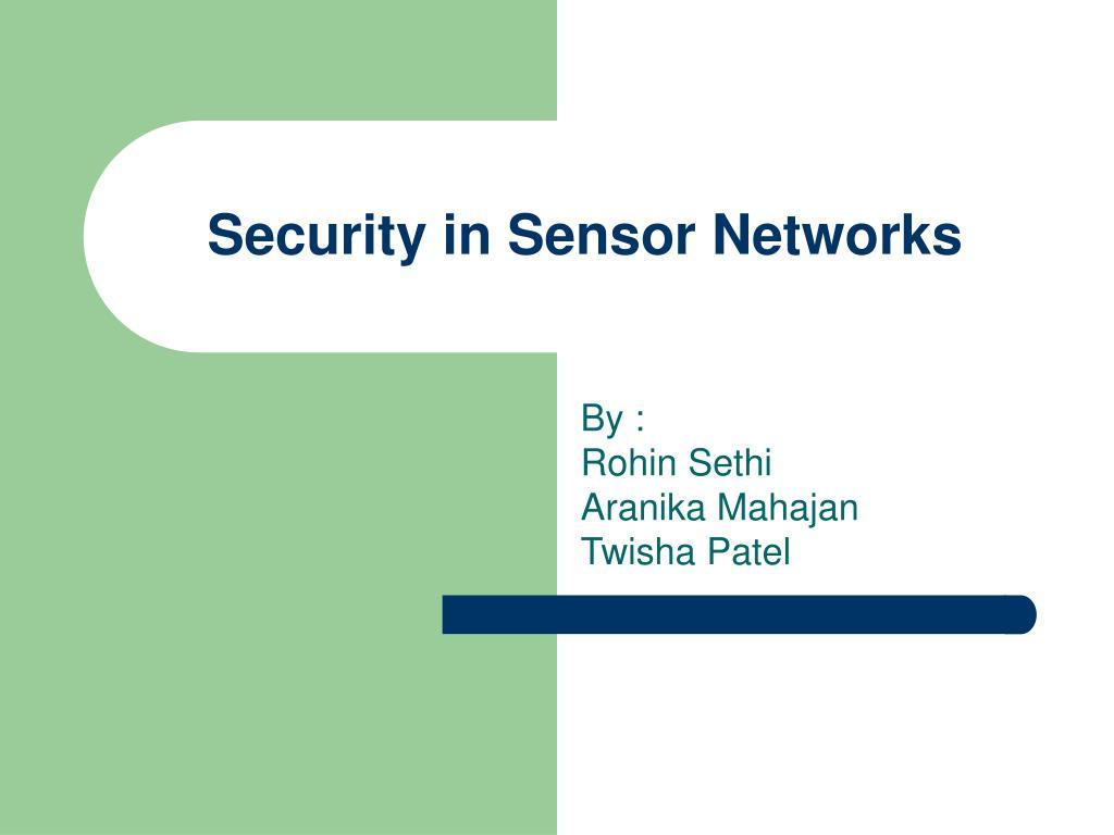 security in sensor networks l.