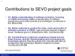 contributions to sevo project goals