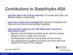 contributions to statoilhydro asa