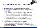 software reuse and component