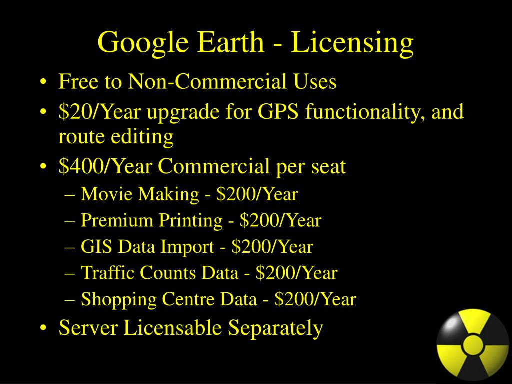 Google Earth - Licensing