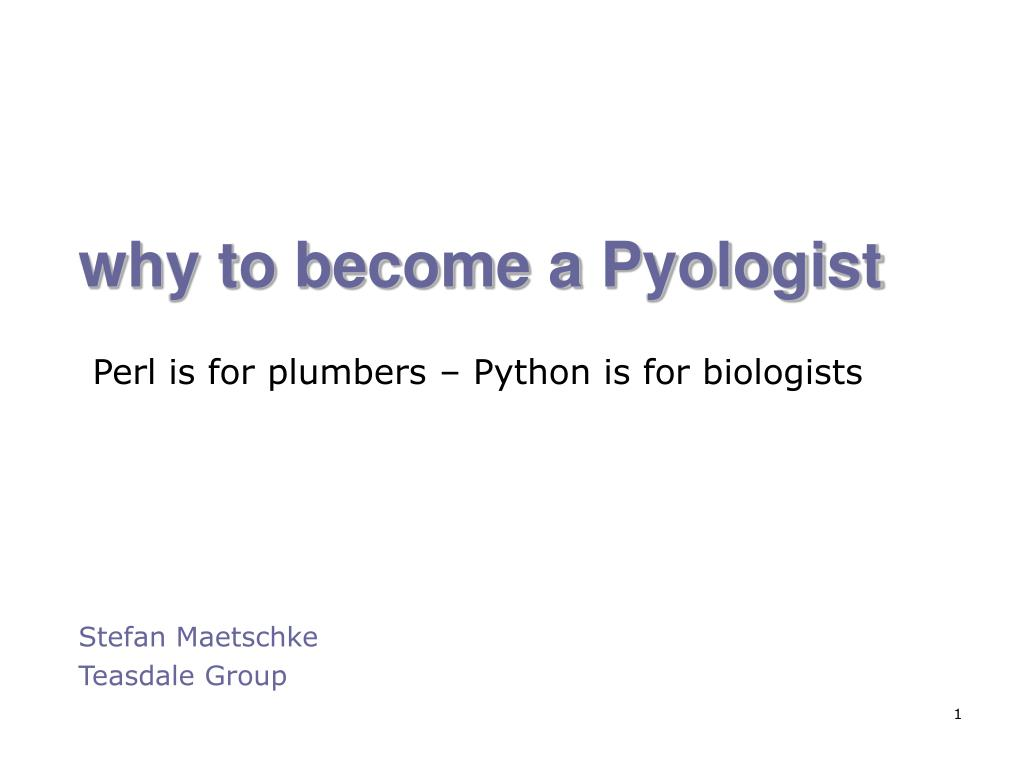 why to become a pyologist l.