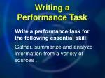 writing a performance task
