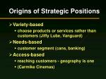 origins of strategic positions