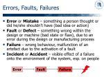 errors faults failures