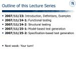 outline of this lecture series