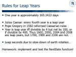 rules for leap years