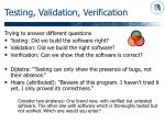 testing validation verification