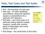 tests test cases and test suites