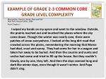example of grade 2 3 common core grade level complexity