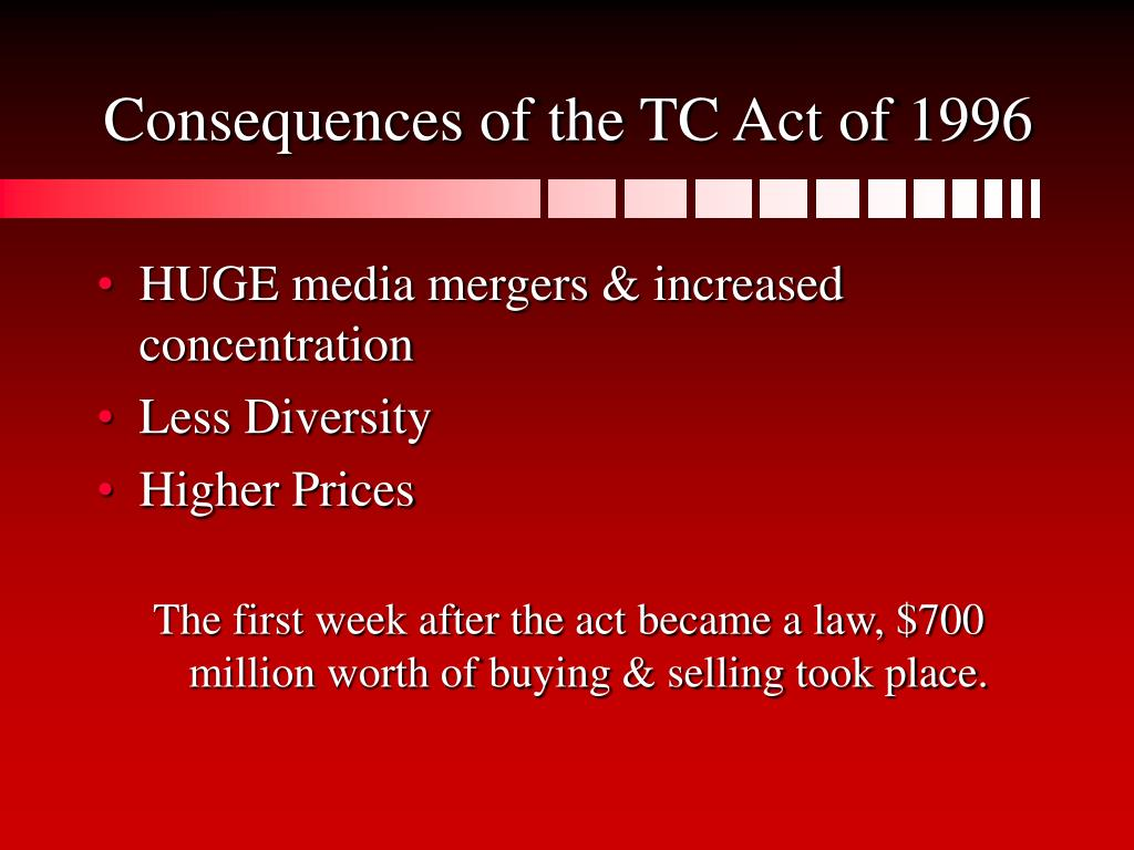 Consequences of the TC Act of 1996