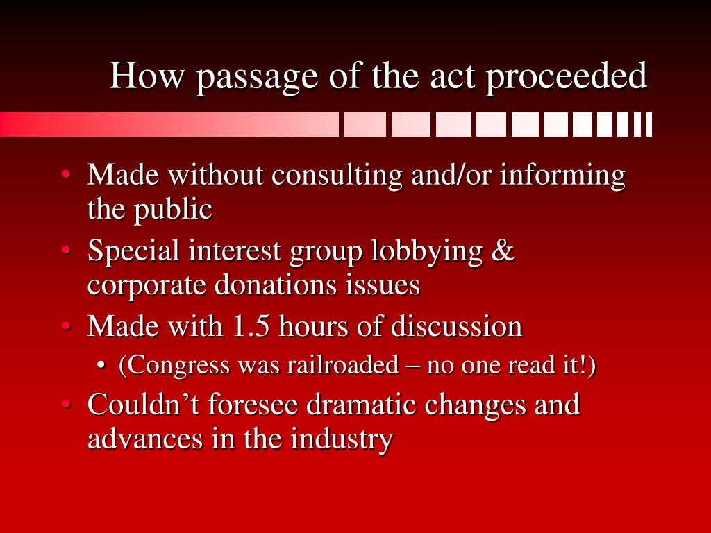 How passage of the act proceeded
