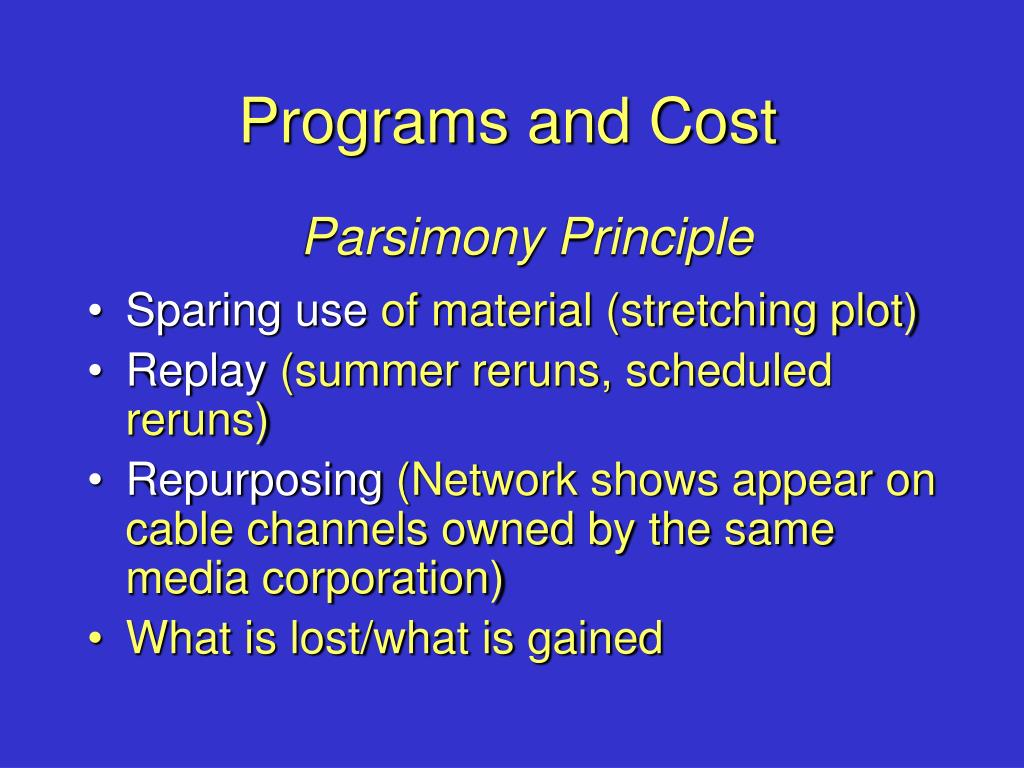 Programs and Cost