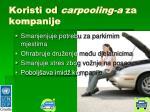 koristi od carpooling a za kompanije
