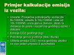 primjer kalkulacije emisija iz vozila