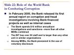 slide 22 role of the world bank in combating corruption