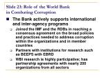 slide 23 role of the world bank in combating corruption
