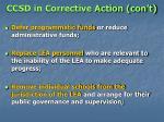 ccsd in corrective action con t