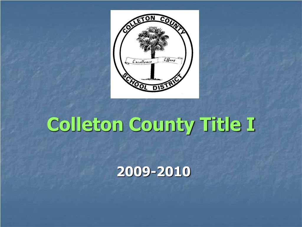 colleton county title i l.