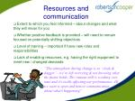 resources and communication
