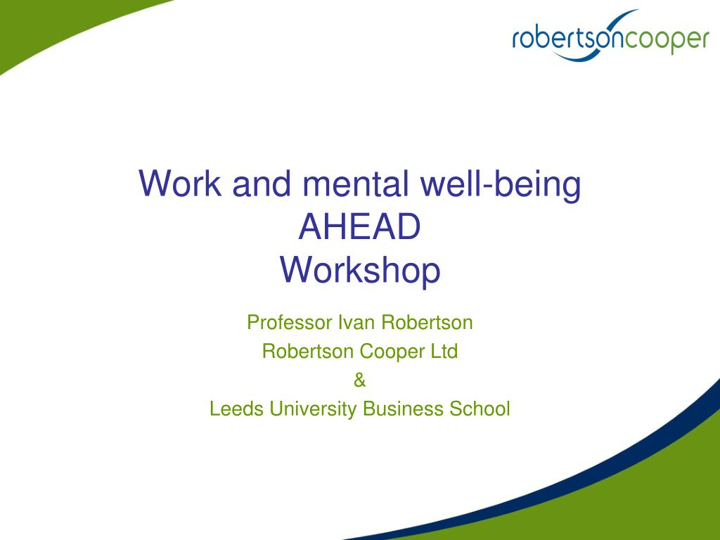 work and mental well being ahead workshop l.