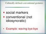 culturally defined conventional gestures
