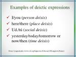 examples of deictic expressions
