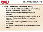 cba output documents