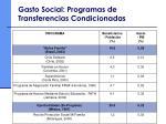 gasto social programas de transferencias condicionadas