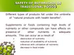 safety of botanicals in traditional foods