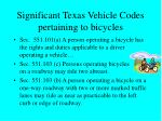 significant texas vehicle codes pertaining to bicycles