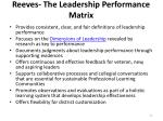reeves the leadership performance matrix