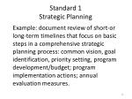 standard 1 strategic planning