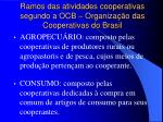 ramos das atividades cooperativas segundo a ocb organiza o das cooperativas do brasil