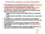 f test for the comparison of standard deviations