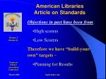 american libraries article on standards