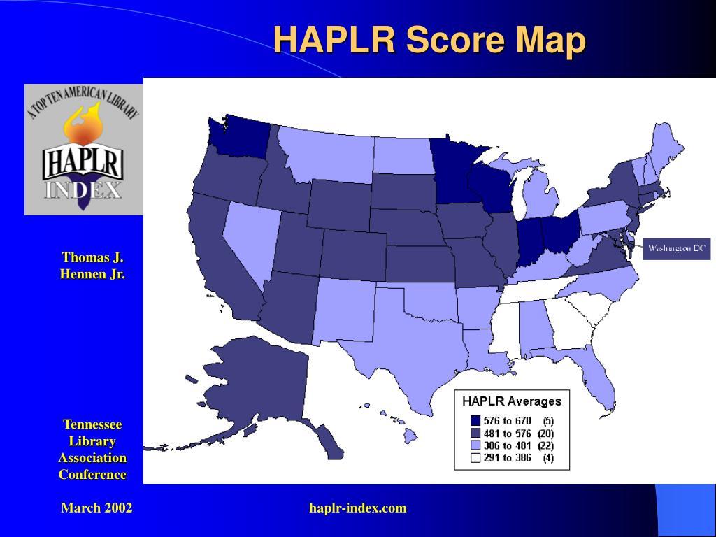 HAPLR Score Map