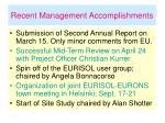 recent management accomplishments