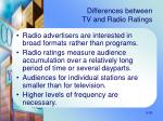 differences between tv and radio ratings