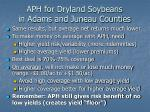 aph for dryland soybeans in adams and juneau counties