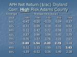 aph net return ac dryland corn high risk adams county