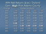 aph net return ac dryland corn high risk adams county37